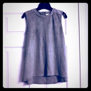 Sleeveless Gray Suede Top Size M